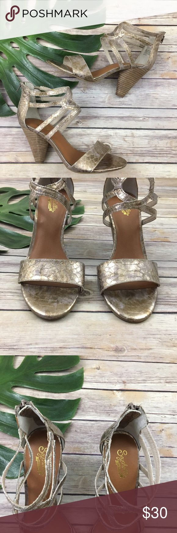 Seychelles gold Metallic Strappy heels Seychelles gold strappy heels, size 9.5. They are free from any rips or stains. The heel is about 3.5 inches tall. Seychelles Shoes Sandals