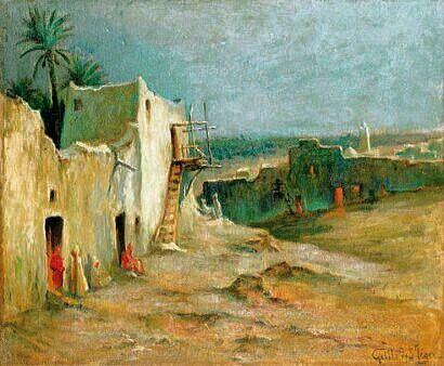 Peinture d'Algérie : Peintre Français,LÉON GEILLE DE SAINT-LÉGER (1864-1837),Huile sur toile, Titre : Scène de village .