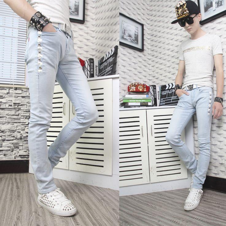 Бесплатная доставка! 2016 летние джинсы мужские Заклепки карандаш брюки мужские тонкие узкие брюки мужчины классические случайные длинные брюки колготки