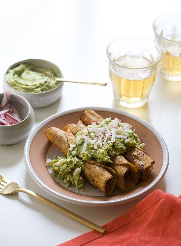 Crispy Chicken Taquitos w/ Avocado Crema | www.acozykitchen.com