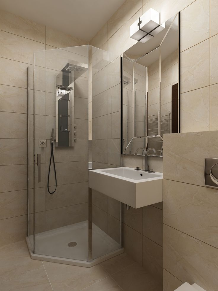 Современные европейские материалы и санфаянс в интерьере ванной комнаты. Студия интерьеров Татьяны Зайцевой.