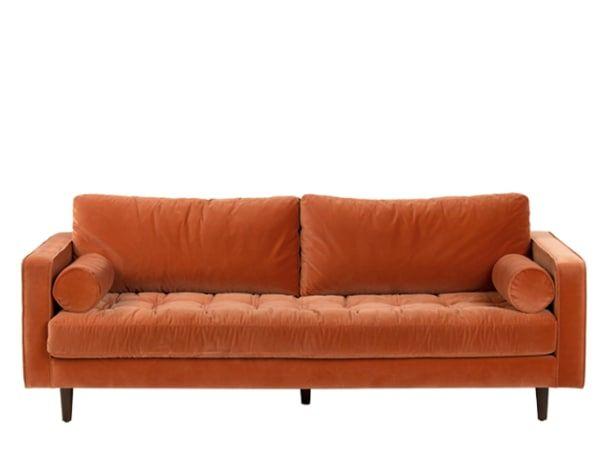 Scott 3 Seater Sofa, Burnt Orange Cotton Velvet