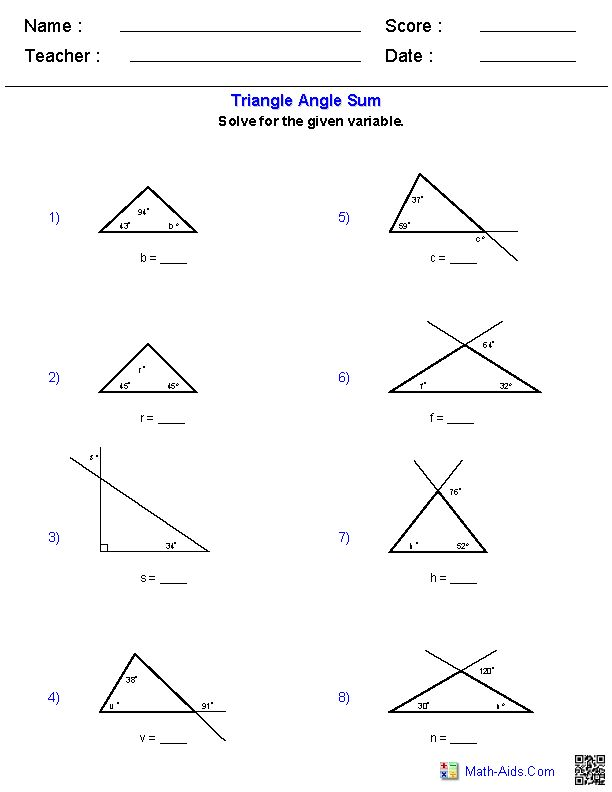 Triangle Angle Sum Worksheets Places To Visit Geometry