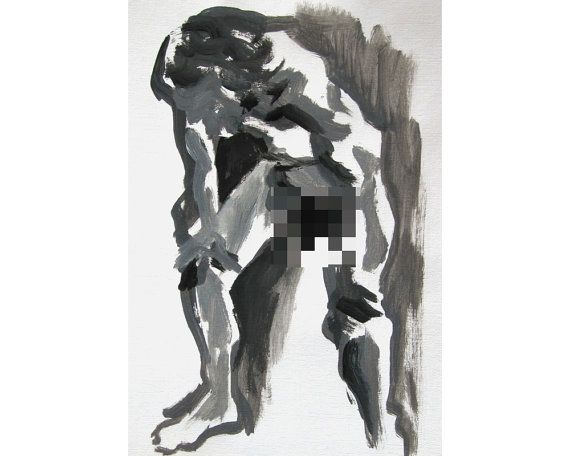 Heavy (February 2014), original acrylic painting of male nude figure life drawing mature on Etsy, £60.00