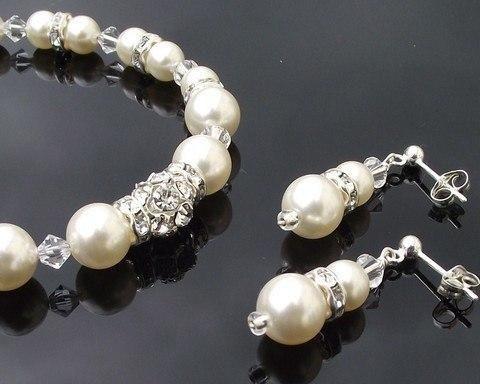 Bracelet & Earring Sets - Swarovski Pearl & Crystal Bridesmaids Bracelet & Earring Set, Emer