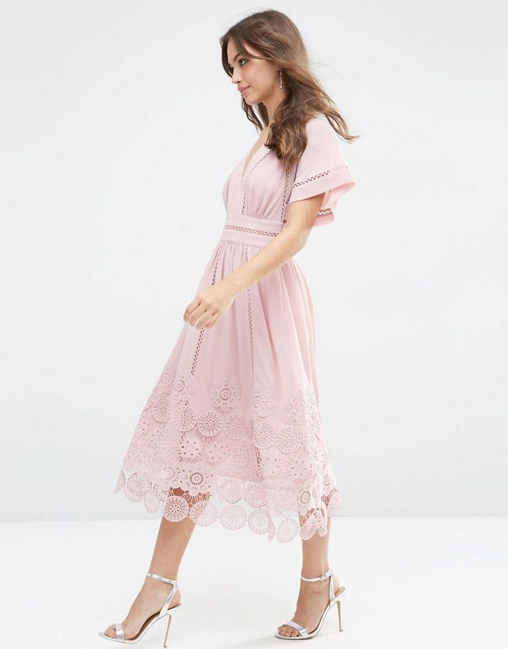 Image 4 of ASOS Premium Ladder and Guipre Lace Hem Midi Dress