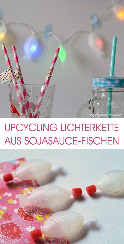 Upcycling-Idee: Lichterkette aus Sojasauce-Plastikfischen basteln