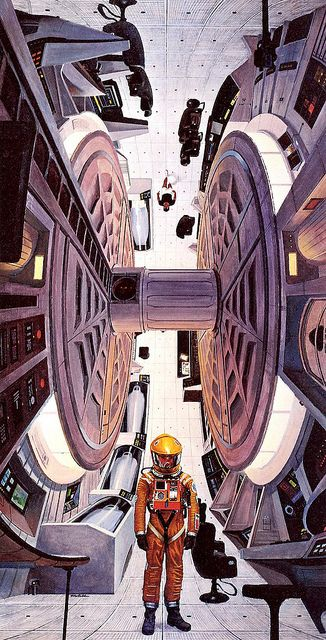 Robert McCall illustration- Inside the Discovery.  From the Stanley Kubrick motion picture, 2001: a space odyssey.