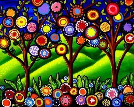 Arte popular árboles de flores colorido por reniebritenbucher