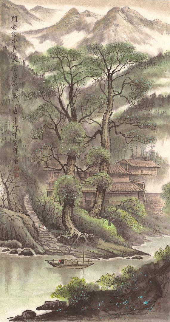 Antique Village  Original Chinese Landscape by 1804Creation, $379.00