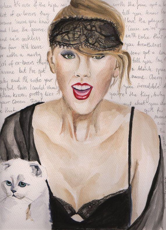 "Taylor Swift Watercolour Portrait with ""Blank Space"" Lyrics"