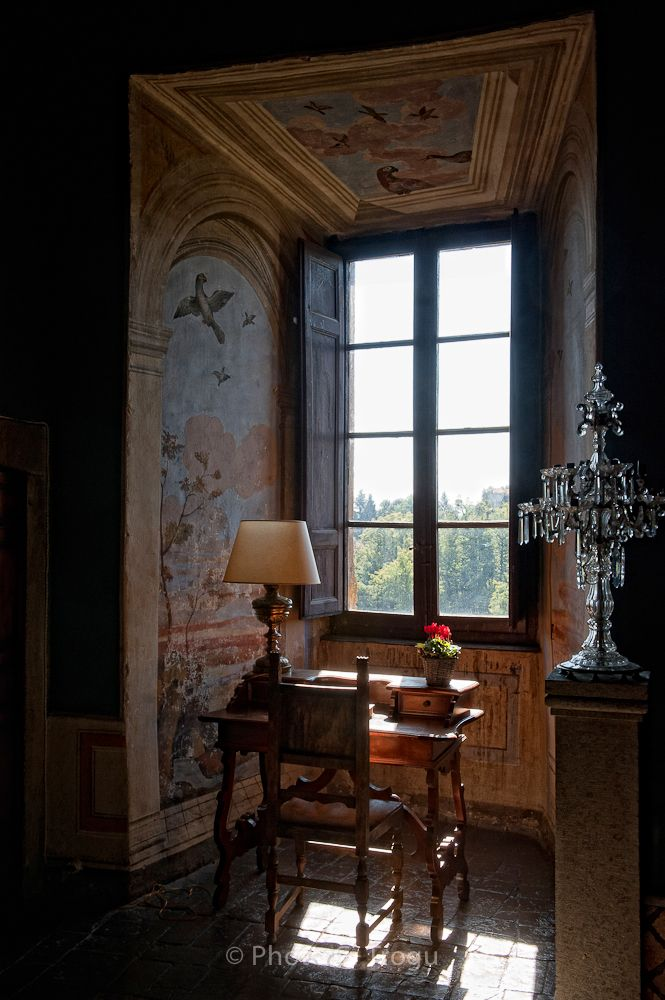 First floor of the Ruspoli castle. Love the idea of a desk in a windowed alcove.