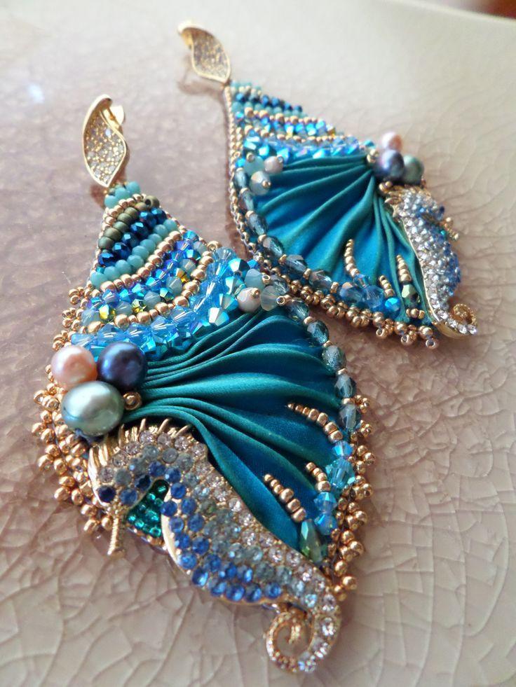 EARRINGS: sparkling seahorses and shibori silk--- design by Serena Di Mercione: