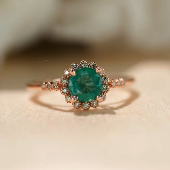 Natural Emerald Ring Rose Gold Ring Halo Engagement Ring Promise Ring Unique Eng… – Lacey Kenny