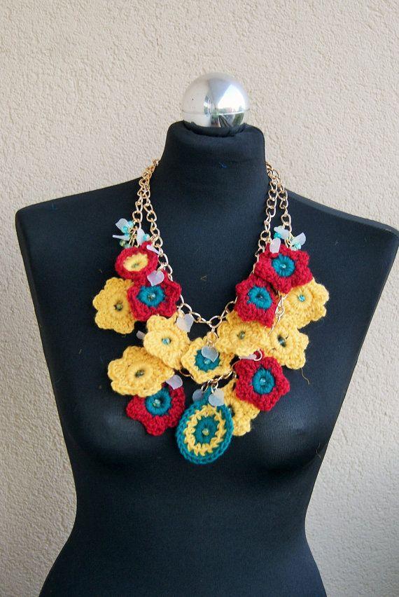 Summertime Statement  Bib crochet necklace by handmadestreet101