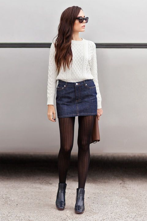 Elevate a casual denim skirt with a cashmere knit, plus pointelle tights and ankle booties.