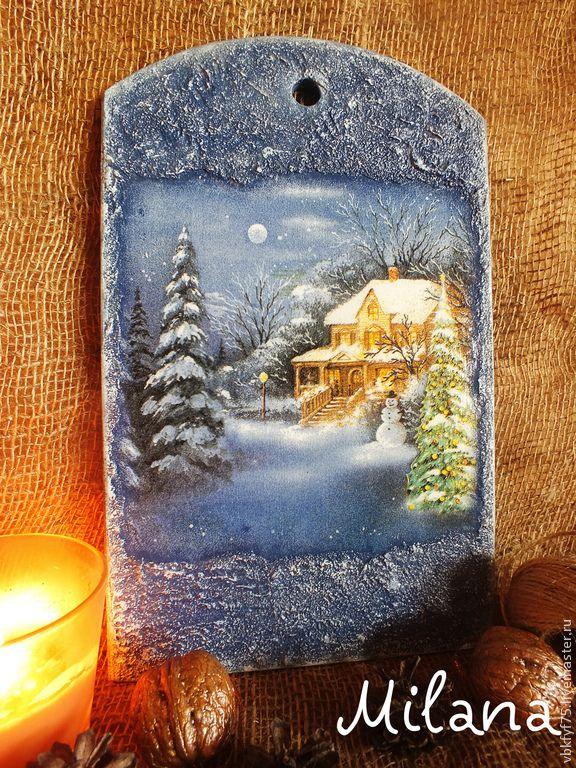 разделочная доска, кухонная доска, разделочные доски, кухонные досочки, доска для кухни, доска кухонная новогодняя, синяя кухонная доска, синяя разделочная доска, разделочная доска декупаж