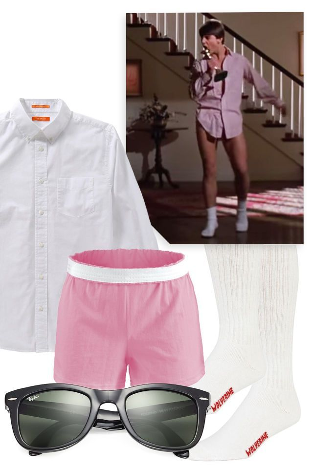 "TOM CRUISE IN ""RISKY BUSINESS"" Possibly the laziest lazy girl costume of them all — you technically don't even have to wear shoes. Grab his button-down, your old cheerleading shorts, a pair of white tube socks, and some Wayfarers, and slide right into the party in style."