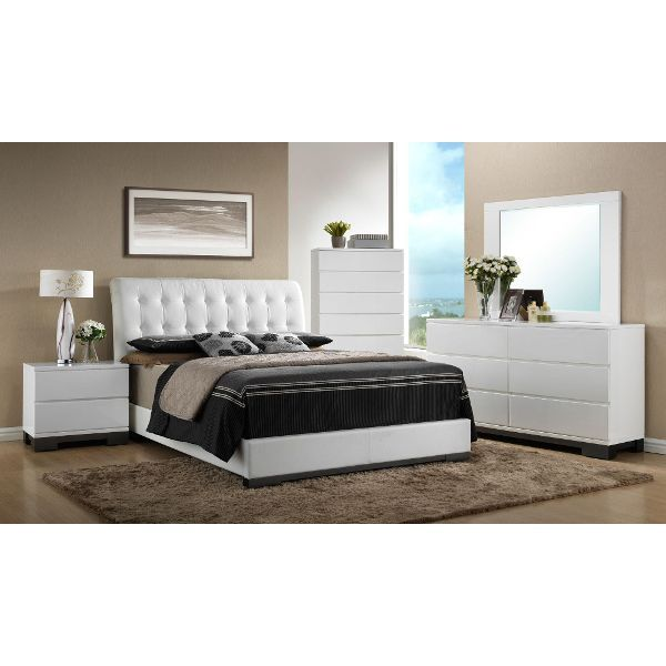 White Contemporary 6 Piece King Bedroom Set - Avery Pinterest