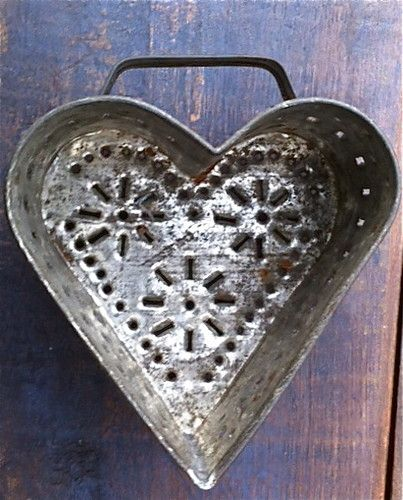 antique large punched tin pierced heart cheese mold strainer