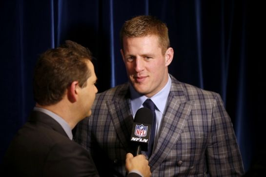 J.J. Watt, of the Houston Texans, winner of the AP defensive player of the year award, speaks backstage at the 4th annual NFL Honors at the Phoenix Convention Center Symphony Hall on Saturday, Jan. 1, 2015. (Photo by Colin Young-Wolff/Invision for NFL/AP Images)