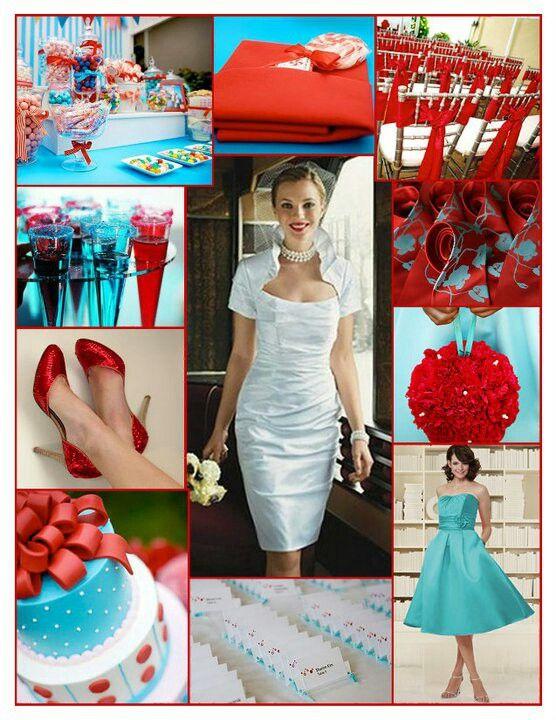 Aqua and red wedding inspiration