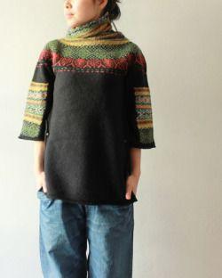 [KAPITAL] 再入荷 ミャオ柄ハイネックセーター