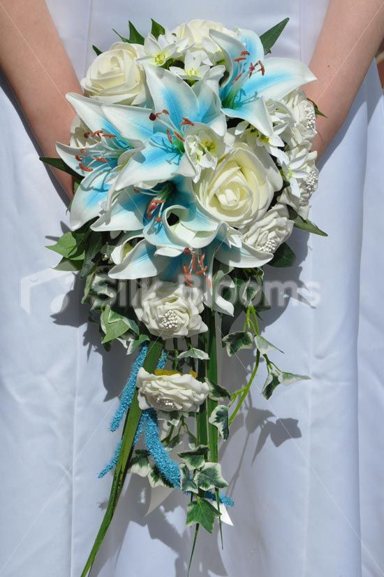 Beautiful Blue Stargazer Lily, Veronica, Ivory Rose and ...