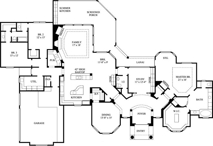 Traditional Style House Plans - 3239 Square Foot Home, 1 Story, 3 Bedroom and 2 3 Bath, 3 Garage Stalls by Monster House Plans - Plan 62-157