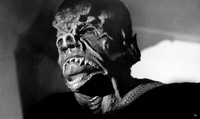 """IT the Terror from Beyond Space"", 1958. The monster uses its tongue to sense its victims. Its tongue is actually ""Crash"" Corrigan's CHIN... he refused to show up for a fitting for the monster suit, so it didn't fit very well..."