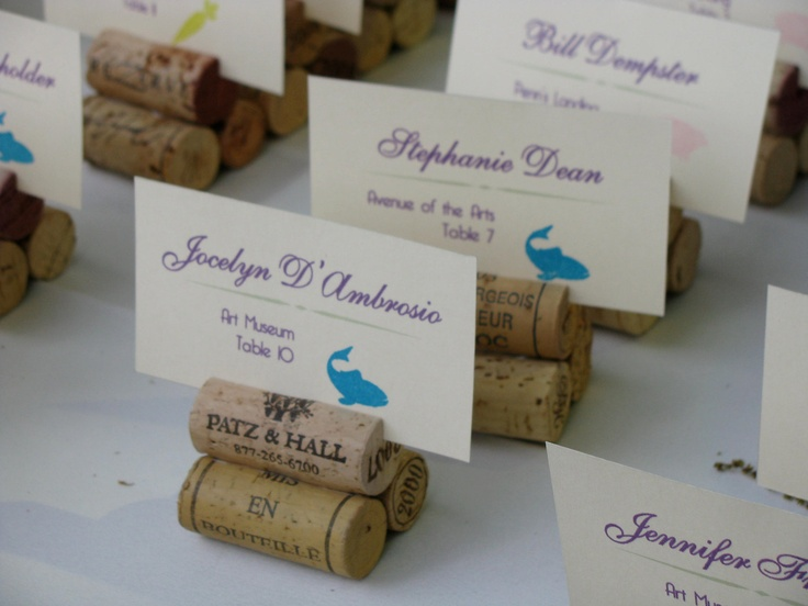 Cork Place Card Holders, Perfect for vineyard wedding. 25 or more. $18.00, via Etsy.