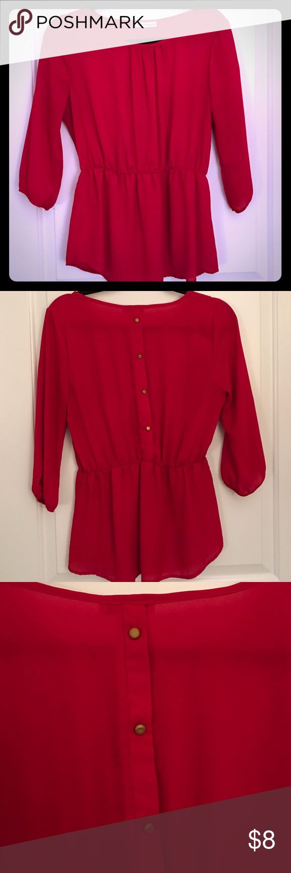 Red, Back Button Peplum Blouse, Medium Great shirt, very flattering. Peplum style that comes in at the waist. Gold buttons down the back. 3/4 sleeves. Dainty Hooligan Tops Blouses