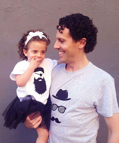 Camisetas molonas para padre e hija, con los parches PIRATA y HIPSTER. Personaliza tu ropa. DIY en #MimetteShop