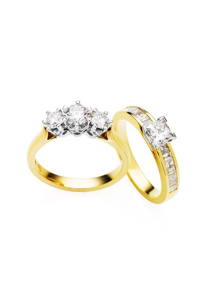 Left: Showcase Jewellers round brilliant-cut diamonds, set in white gold and yellow gold.