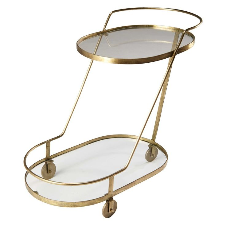 The gold drinks trolley is a perfect addition to the home Elegance look | Glass and gold metal serving trolley ISABEAU | Maisons du Monde