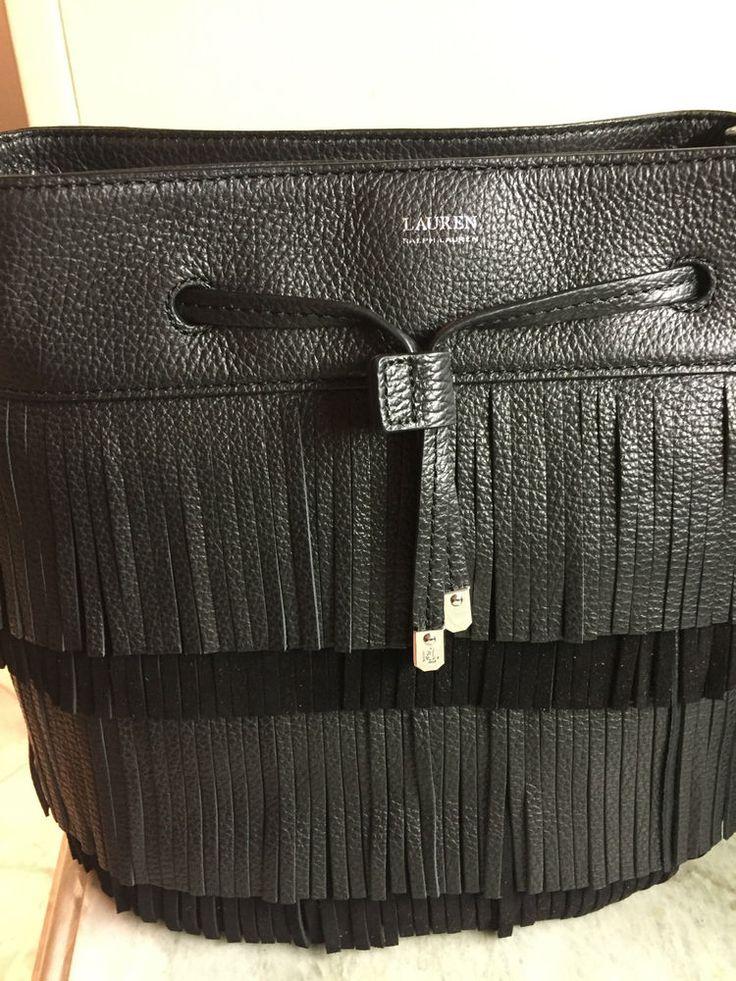 Ralph Lauren Handbag Drawstring Cobden Bucket BLACK Leather NWT $268 #RalphLauren #BucketDrawstring