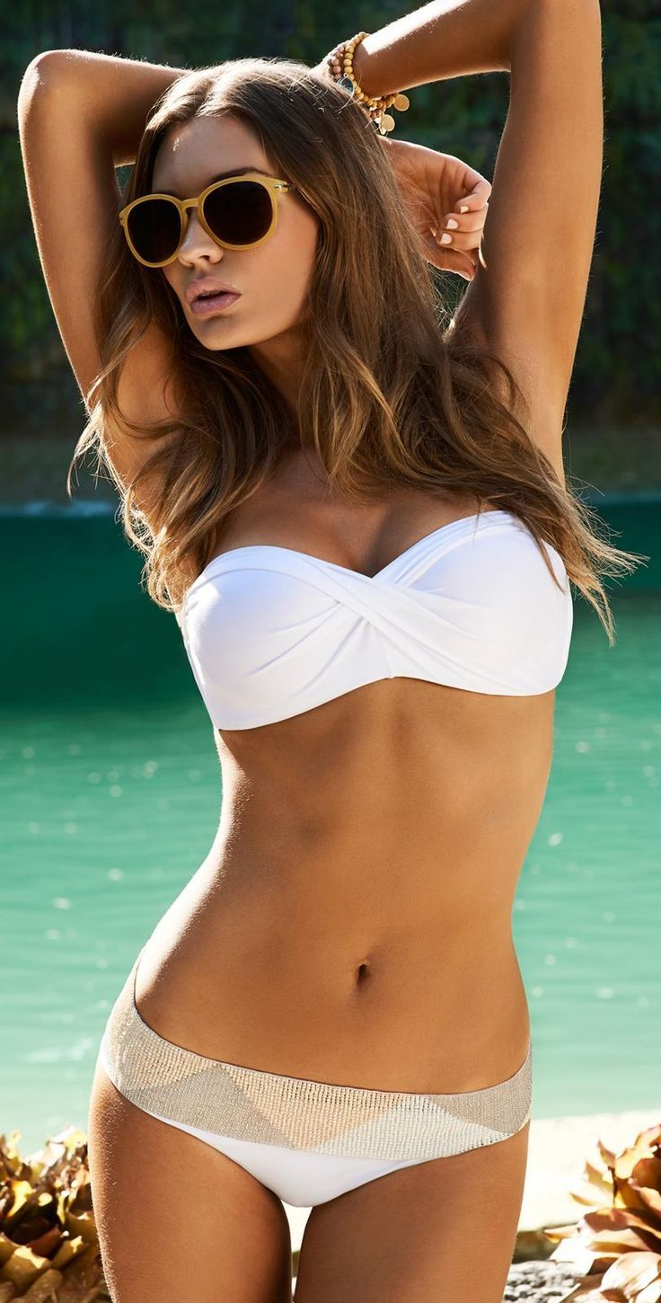 Summer 2015 Fashion - White Bandeau Bikini Look.