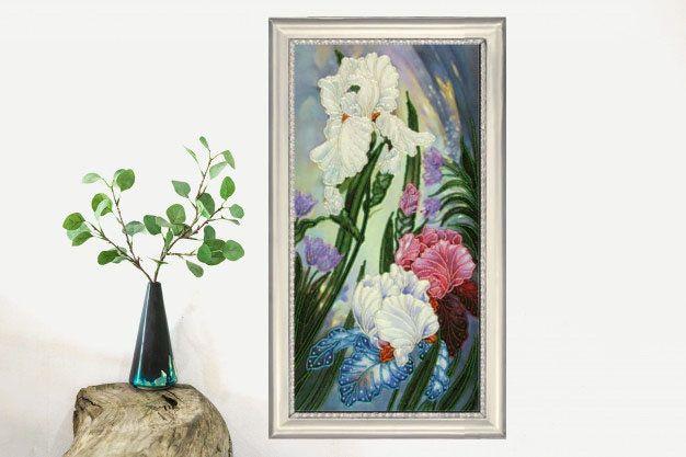 Bead Embroidery Kit Irises Flowers DIY Beadwork kit Beading kit Hand embroidery Beaded Stitching