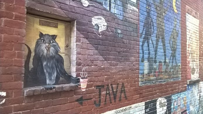 manchester One New Hampshire alleyway has become home to a public gallery of feline art.