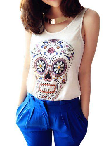 Amazon.com: Allegra K Lady Sleeveless Hearts Detail Skull Printed Front Casual Tank Top: Clothing $9