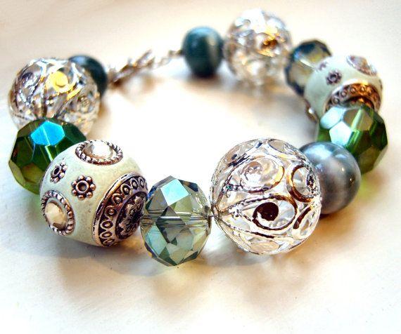 Turquoise Beaded Bracelet Chunky Bead Bracelet by JewelleryByJora, £14.00
