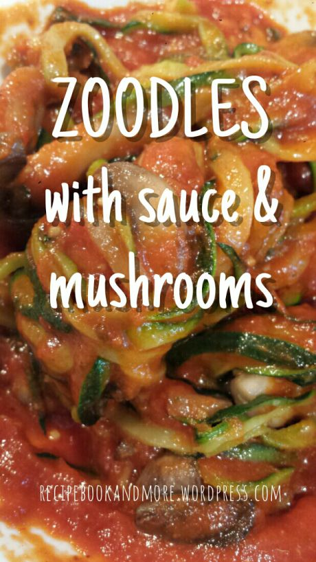 Is that pasta? No! It's zucchinis cut into spiral 'noodles' topped with tomato sauce. Great meatless option, or could add ground turkey in the sauce.