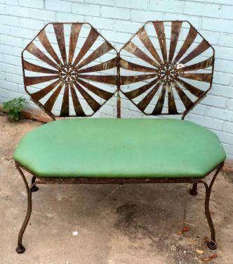 Button Back, Hollywood Garden Chair Bench Rare $450 Country Garden Antiques  147 Parkhouse Dallas,