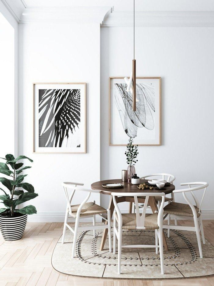 Contemporary Dining In Scandinavian Style With Carpet And Wall Decoration Scandinavian Design Interior Design Inspiration Wall Decor