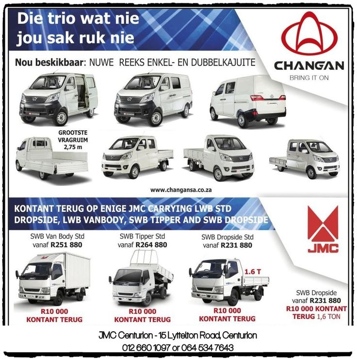 Die trio wat nie jou sak ruk nie = Changan  Contact 012 660 1097 OR Christo Van Rensburg 064 534 7643 for more information.  Finance available & trade- ins welcome!! #BuckleUp #ArriveAlive #changan #sinclecab #farmer #doublecab #construction #builder #pickup #companycar