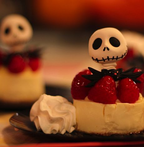 Jack Skellington Coffin Dessert – red velvet cake, chocolate shell, whipped cream, and Jack's head (made of sugar) on top...served in a miniature plastic coffin. Available only at Disneyland. :(