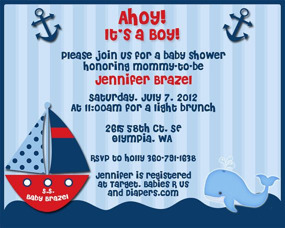 63 best images about wyatt''s baby shower on pinterest | sailboat, Baby shower invitations