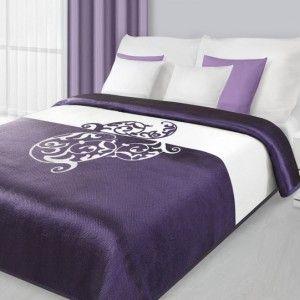 Obojstranný fialový prehoz na posteľ s ornamentom