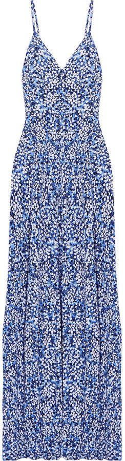 Brush print jersey maxi dress