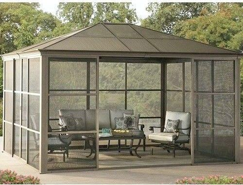 Outdoor Summer House Patio Screen Room Garden Office Shed Aluminium LargeGazebo  #SunjoyIndustries